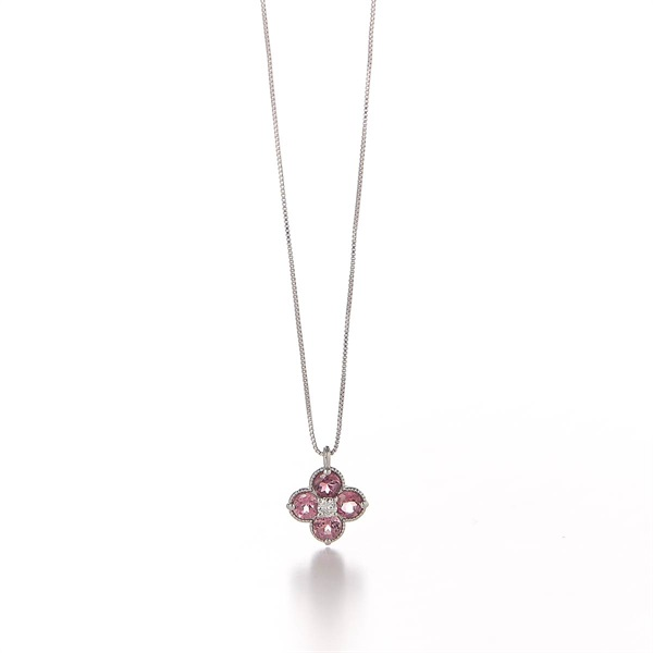 Pink Tourmaline Flower Necklace(YELLOWGOLD-One Size)
